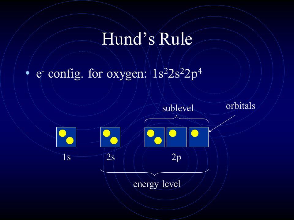 Hund's Rule e- config. for oxygen: 1s22s22p4 1s 2s 2p orbitals