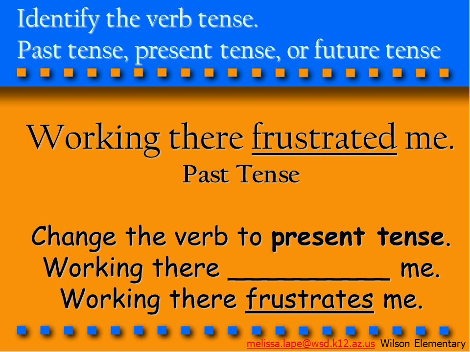 Identify the verb tense. Past tense, present tense, or future tense