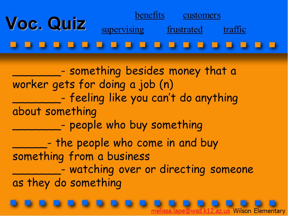 Voc. Quiz _______- something besides money that a