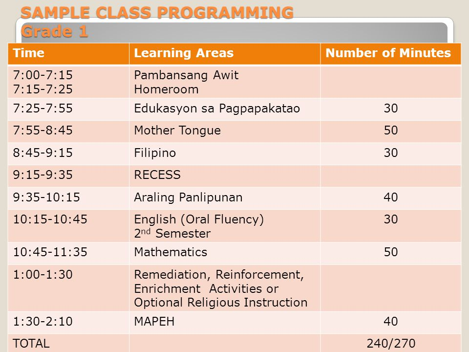 SAMPLE CLASS PROGRAMMING Grade 1