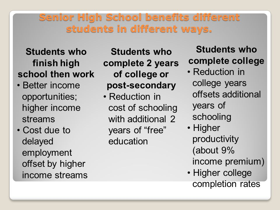 Senior High School benefits different students in different ways.