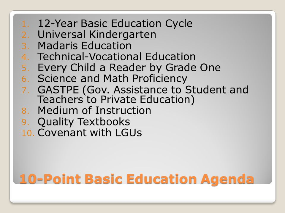 10-Point Basic Education Agenda