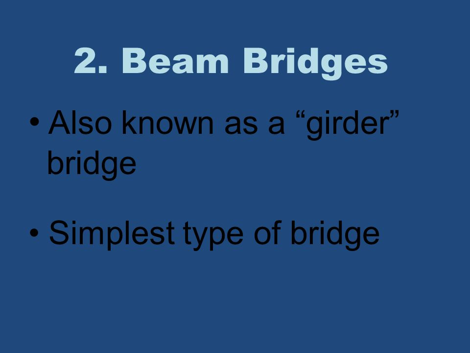 Also known as a girder bridge Simplest type of bridge
