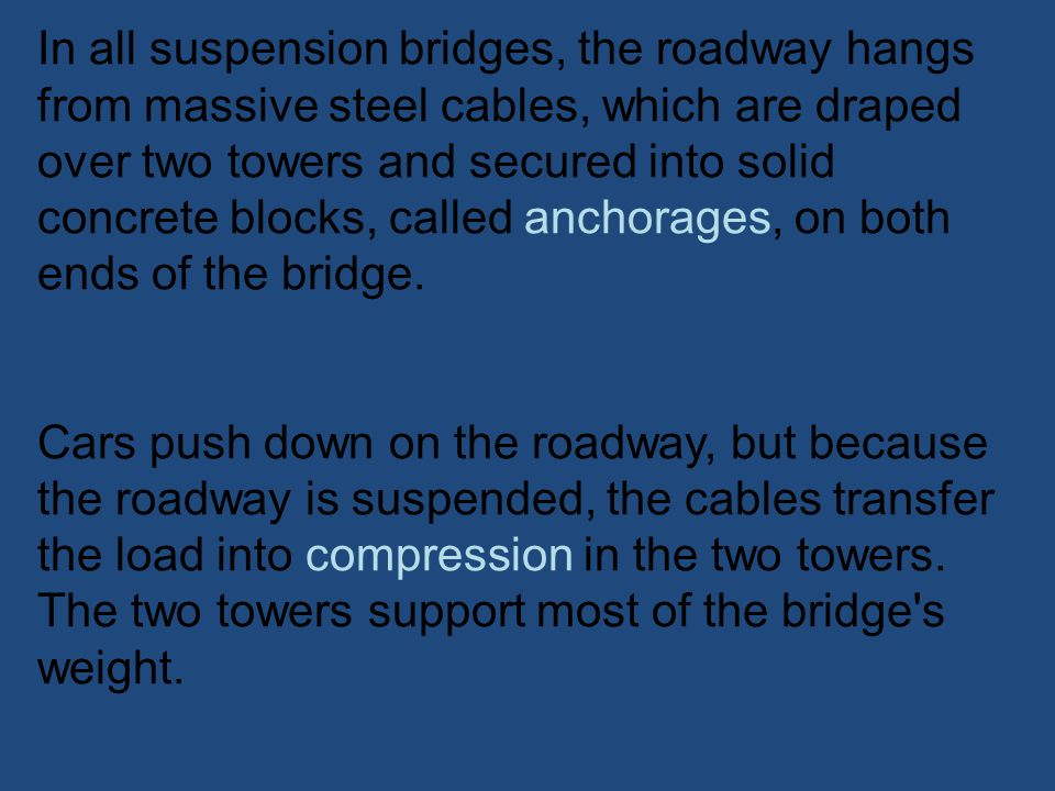 In all suspension bridges, the roadway hangs from massive steel cables, which are draped over two towers and secured into solid concrete blocks, called anchorages, on both ends of the bridge.