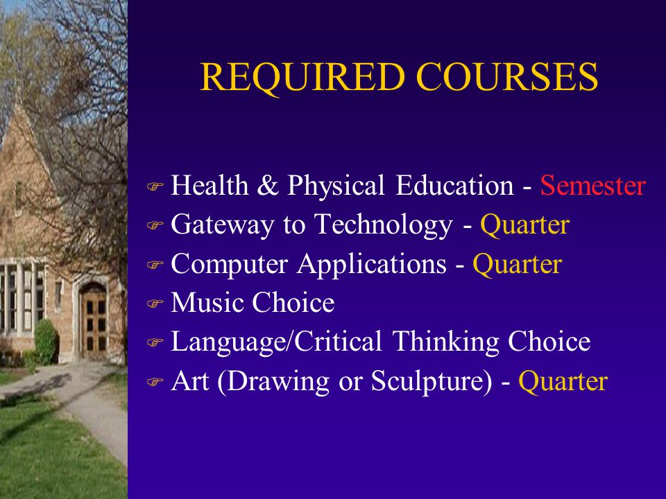 REQUIRED COURSES Health & Physical Education - Semester