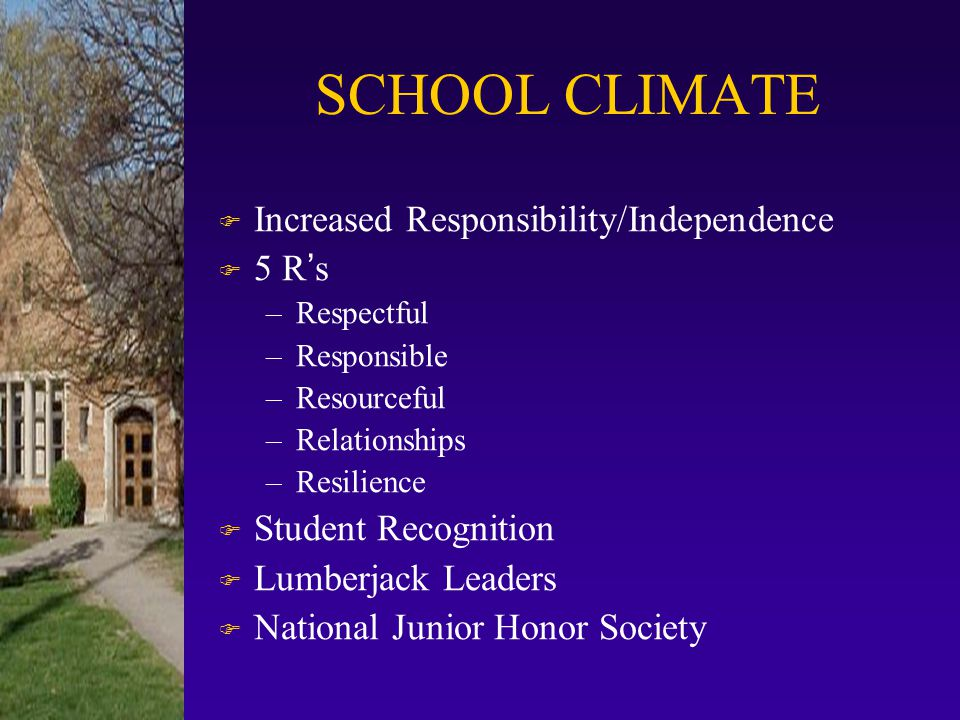 SCHOOL CLIMATE Increased Responsibility/Independence 5 R's