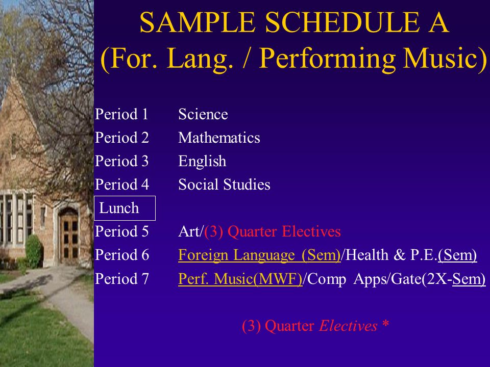 SAMPLE SCHEDULE A (For. Lang. / Performing Music)