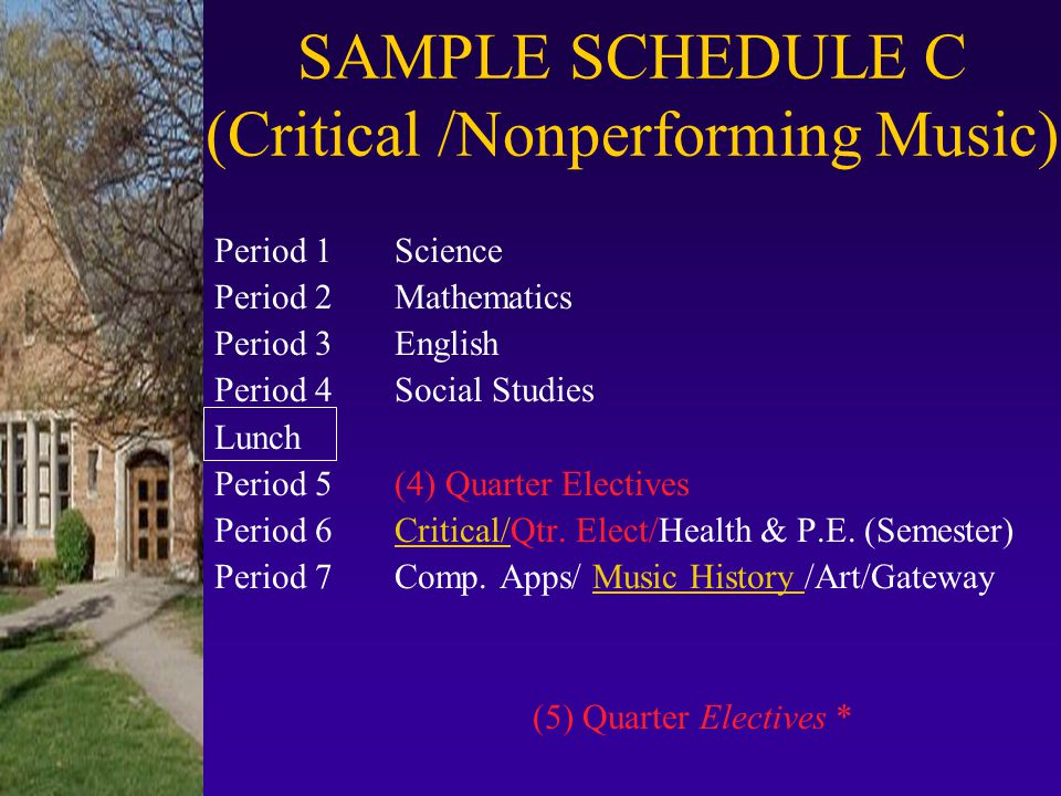 SAMPLE SCHEDULE C (Critical /Nonperforming Music)