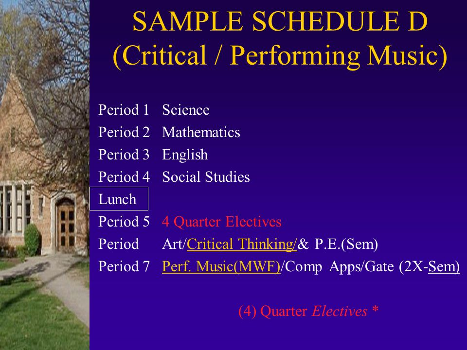 SAMPLE SCHEDULE D (Critical / Performing Music)