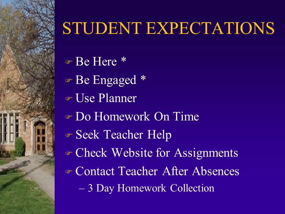 STUDENT EXPECTATIONS Be Here * Be Engaged * Use Planner