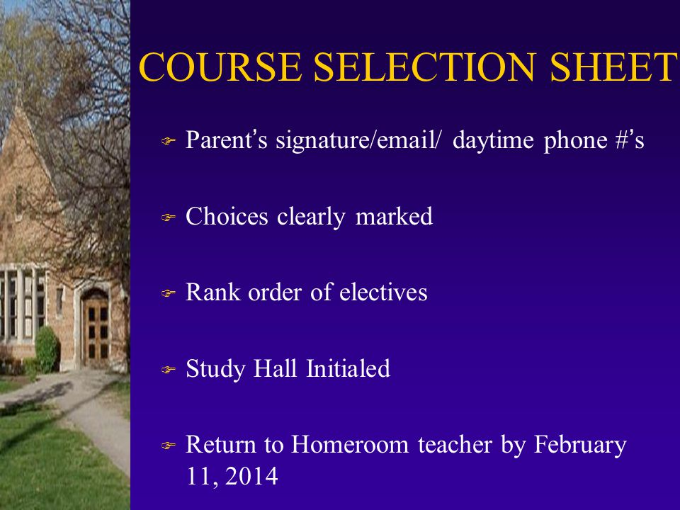 COURSE SELECTION SHEET