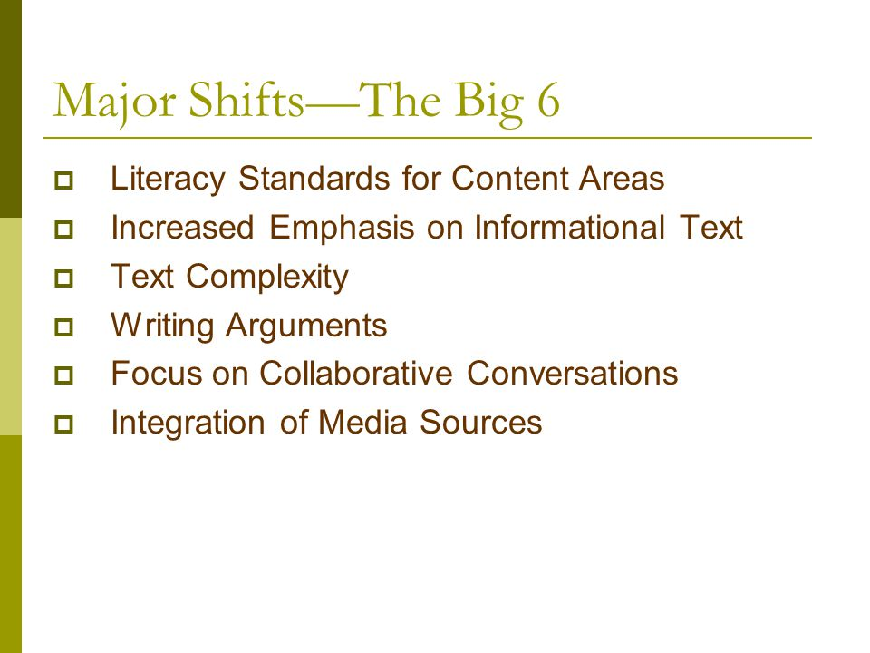 Major Shifts—The Big 6 Literacy Standards for Content Areas