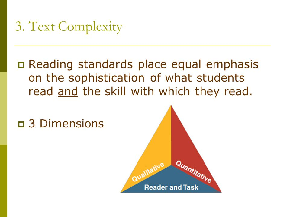 3. Text Complexity Reading standards place equal emphasis on the sophistication of what students read and the skill with which they read.
