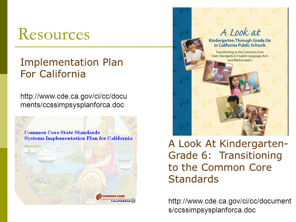 Resources Implementation Plan For California A Look At Kindergarten-