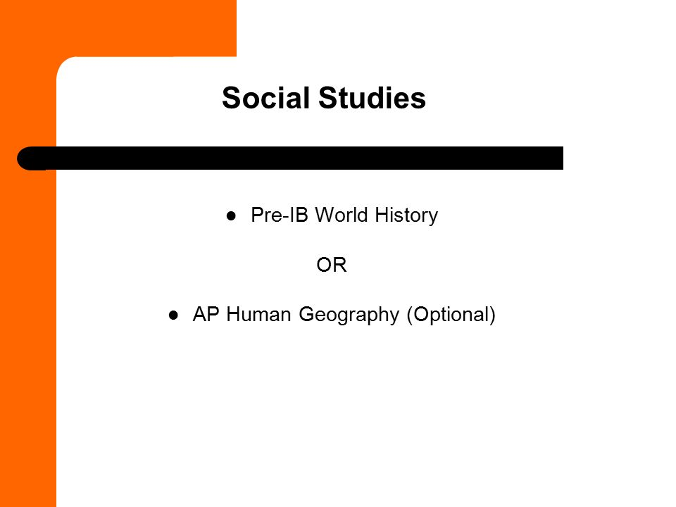 AP Human Geography (Optional)