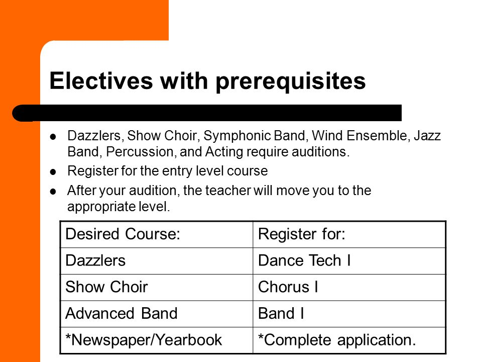 Electives with prerequisites