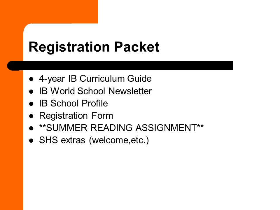 Registration Packet 4-year IB Curriculum Guide