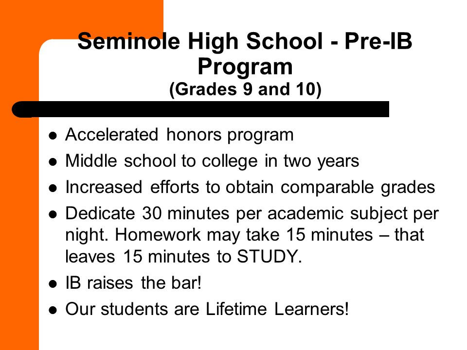 Seminole High School - Pre-IB Program (Grades 9 and 10)