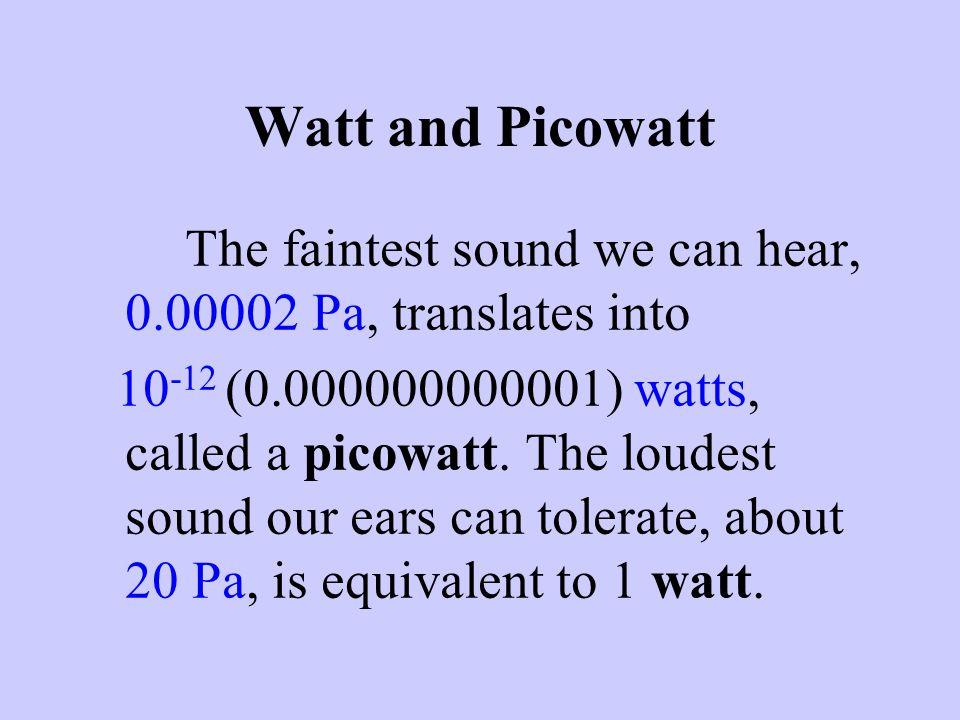 Watt and Picowatt The faintest sound we can hear, 0.00002 Pa, translates into.