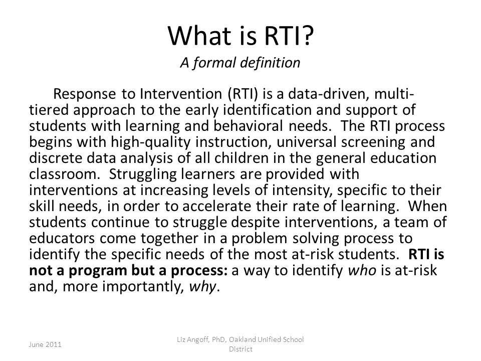 What is RTI A formal definition