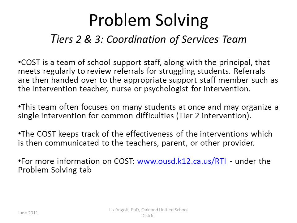 Problem Solving Tiers 2 & 3: Coordination of Services Team