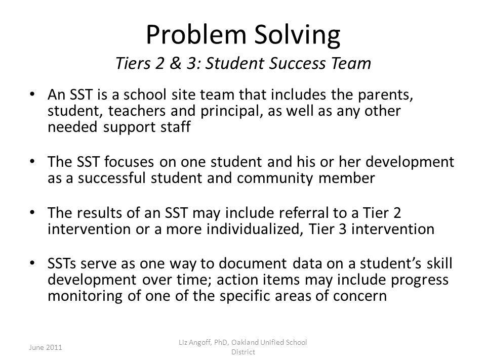 Problem Solving Tiers 2 & 3: Student Success Team