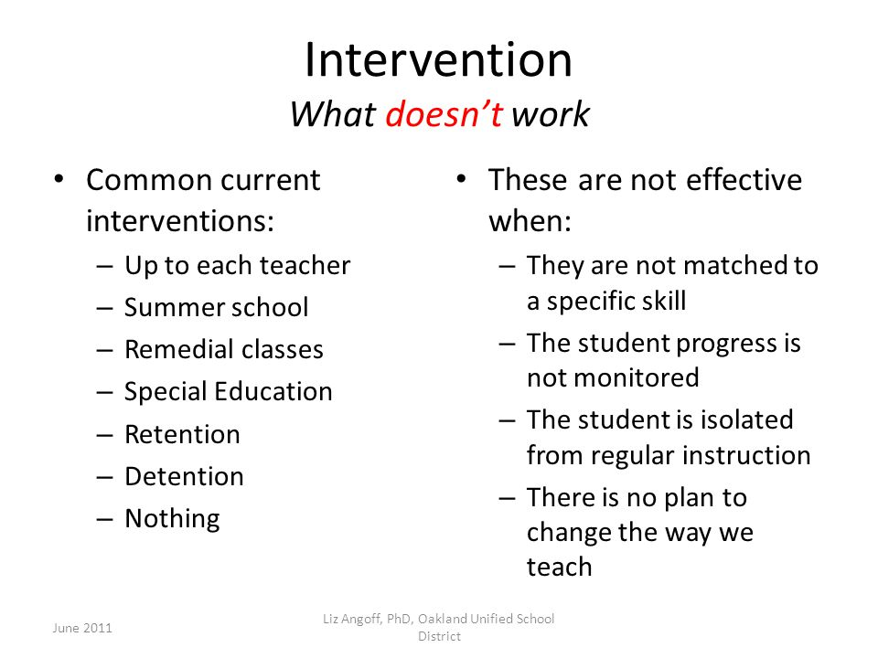 Intervention What doesn't work