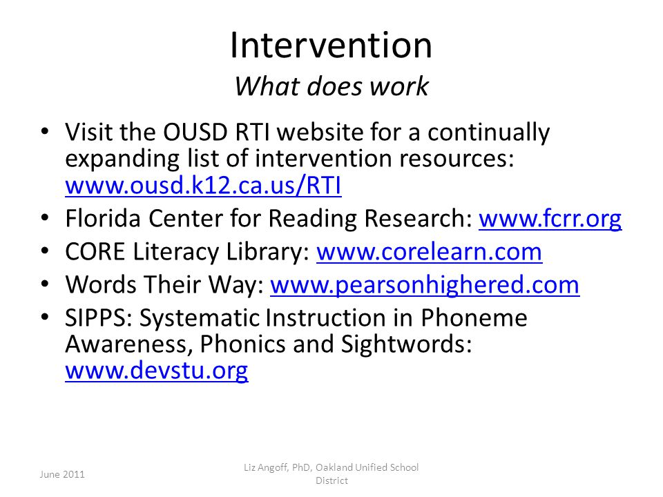 Intervention What does work