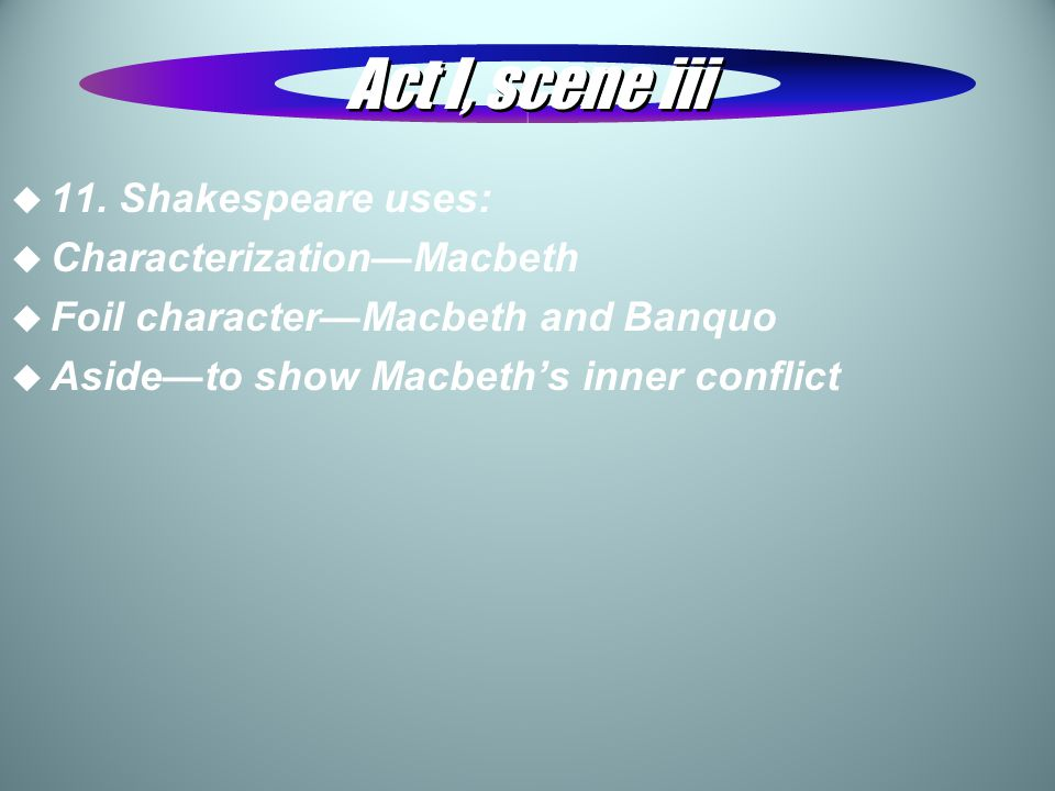Act I, scene iii 11. Shakespeare uses: Characterization—Macbeth