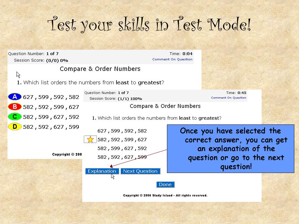 Test your skills in Test Mode!