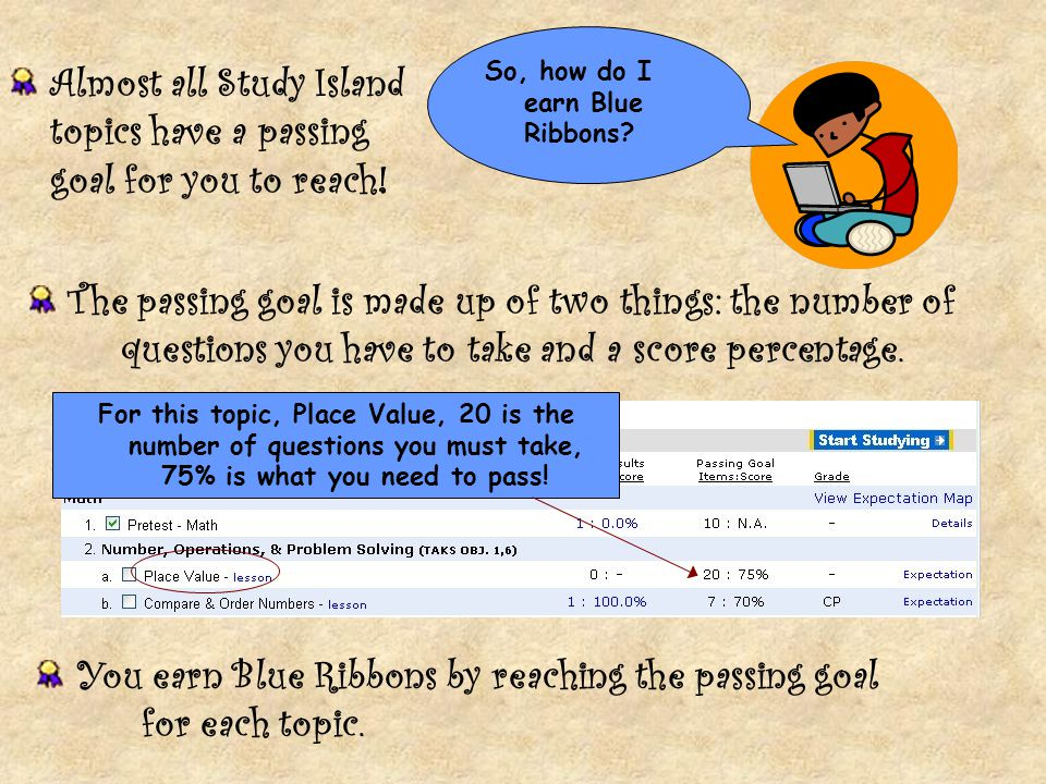 Almost all Study Island topics have a passing goal for you to reach!
