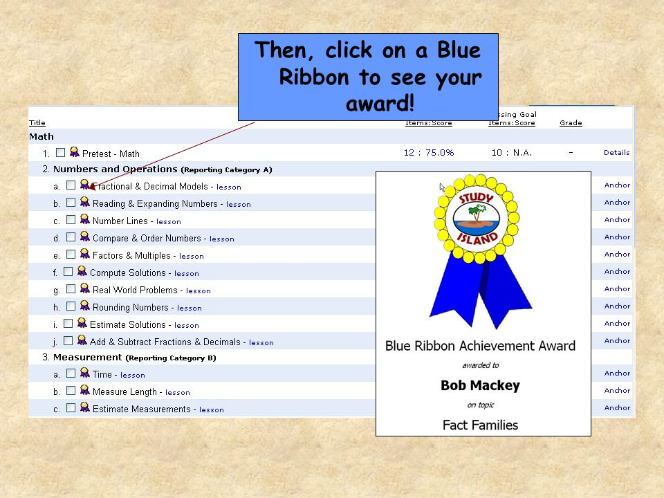 Then, click on a Blue Ribbon to see your award!