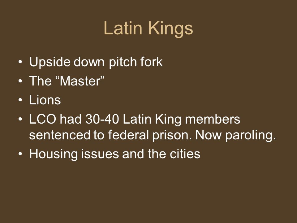 Latin Kings Upside down pitch fork The Master Lions
