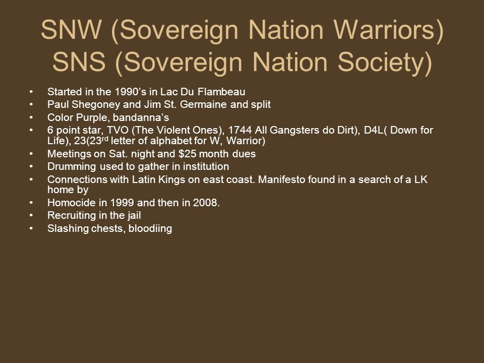 SNW (Sovereign Nation Warriors) SNS (Sovereign Nation Society)