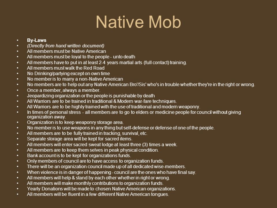 Native Mob By-Laws (Directly from hand written document)