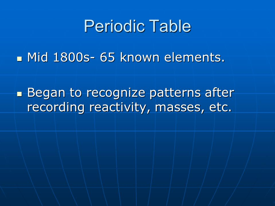 Periodic Table Mid 1800s- 65 known elements.