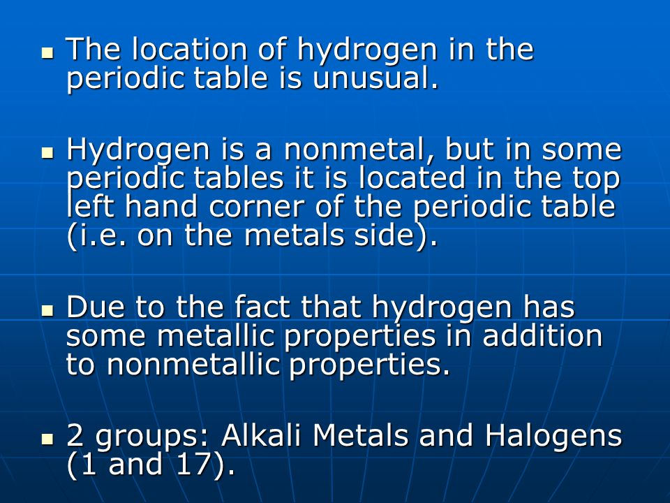 The location of hydrogen in the periodic table is unusual.