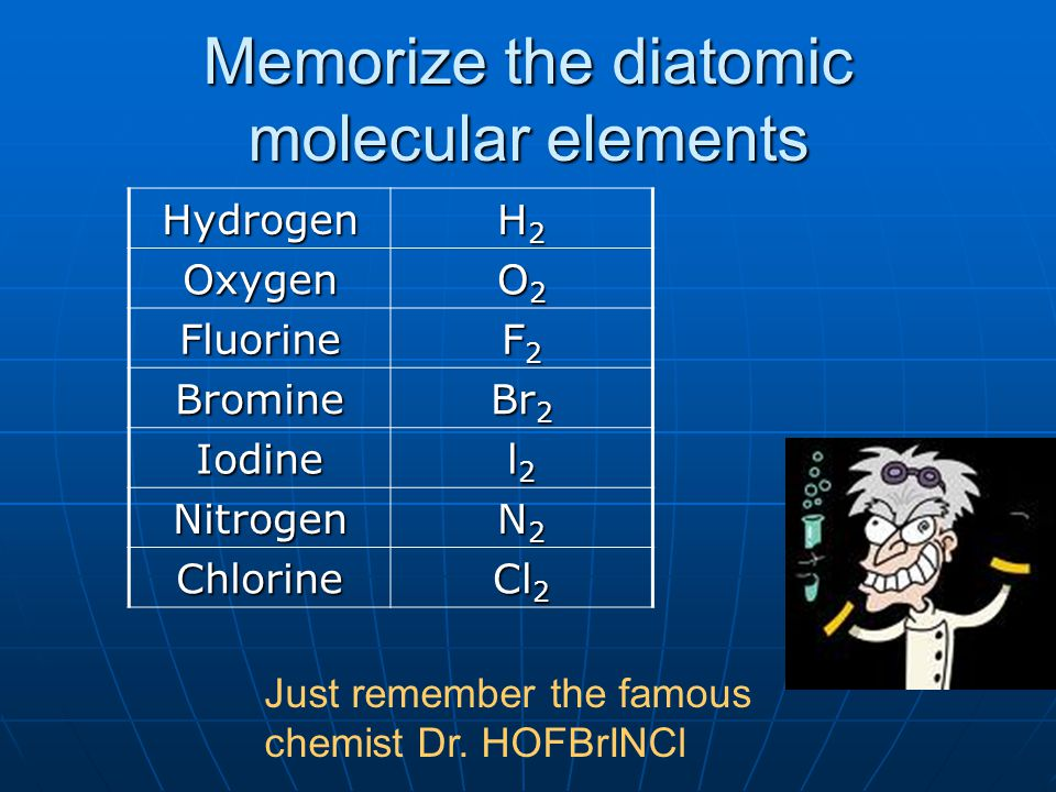 Memorize the diatomic molecular elements