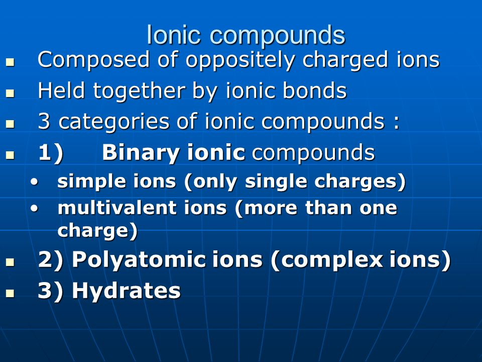 Ionic compounds Composed of oppositely charged ions