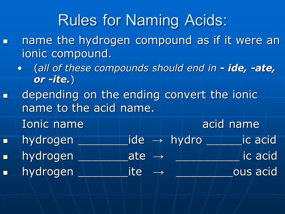 Rules for Naming Acids: