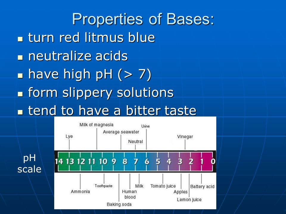 Properties of Bases: turn red litmus blue neutralize acids