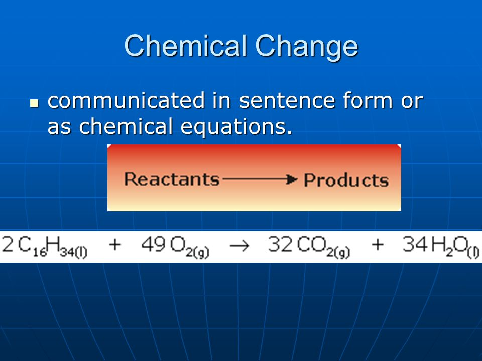 Chemical Change communicated in sentence form or as chemical equations.