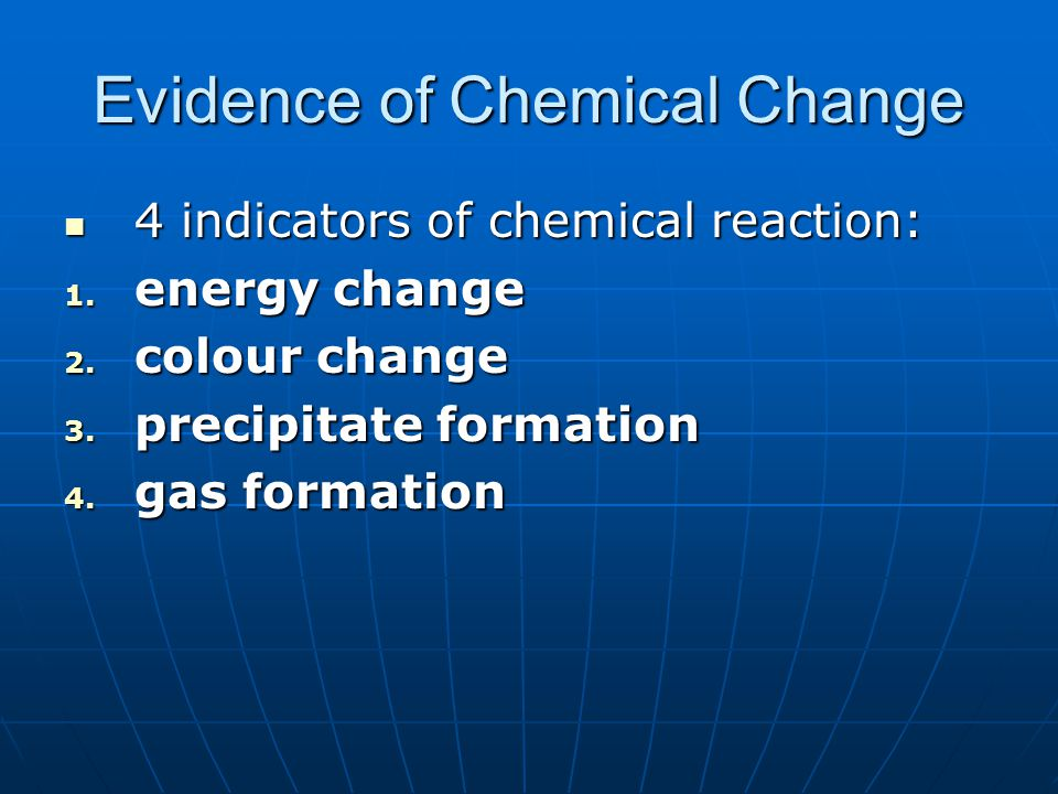 Evidence of Chemical Change