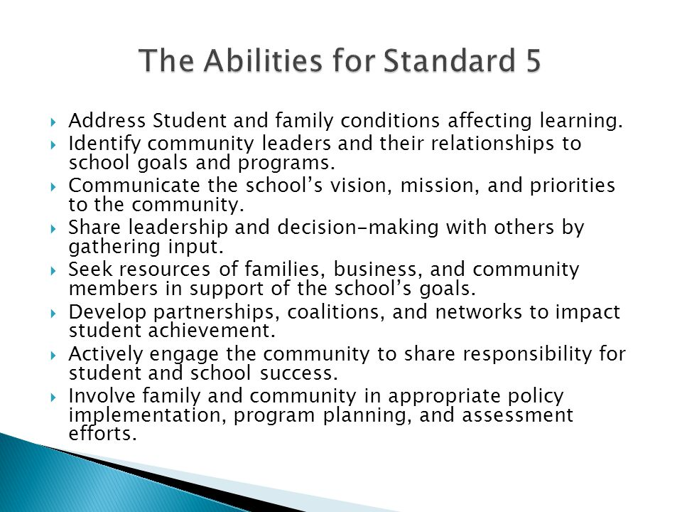 The Abilities for Standard 5