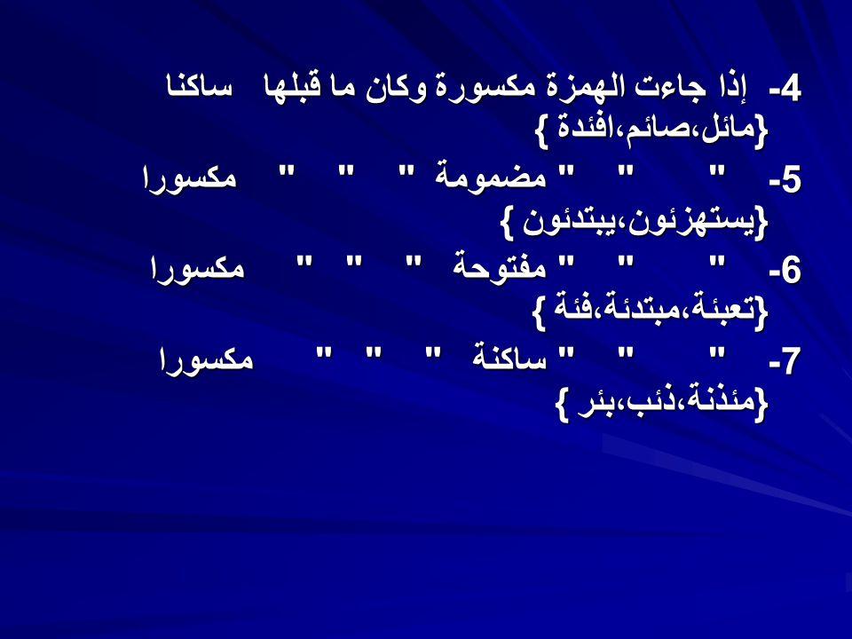 4- إذا جاءت الهمزة مكسورة وكان ما قبلها ساكنا {مائل،صائم،افئدة }