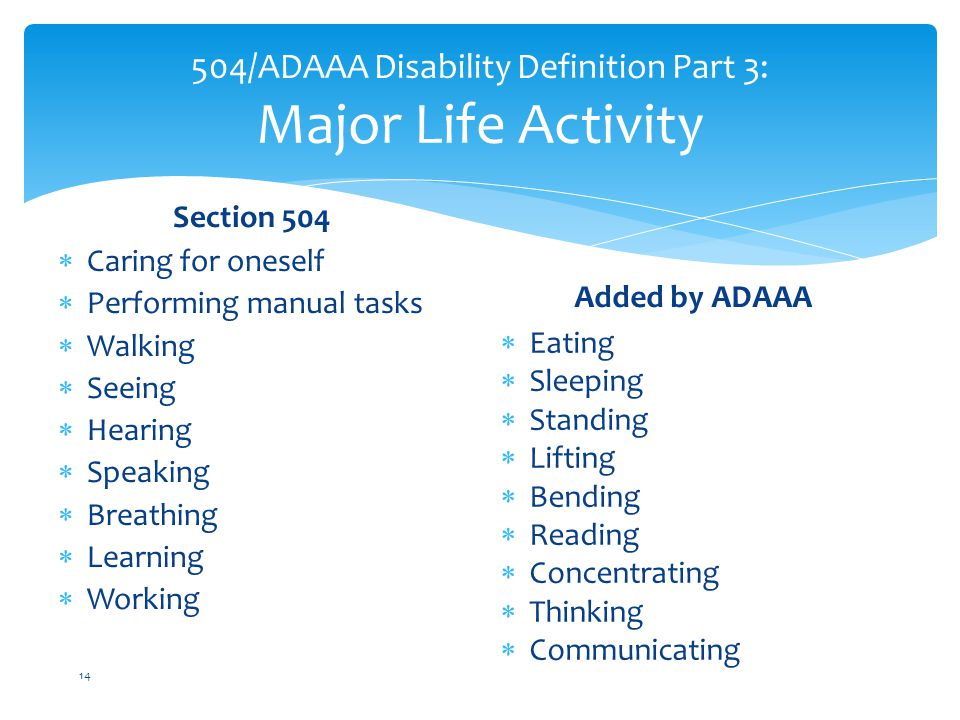 504/ADAAA Disability Definition Part 3: Major Life Activity