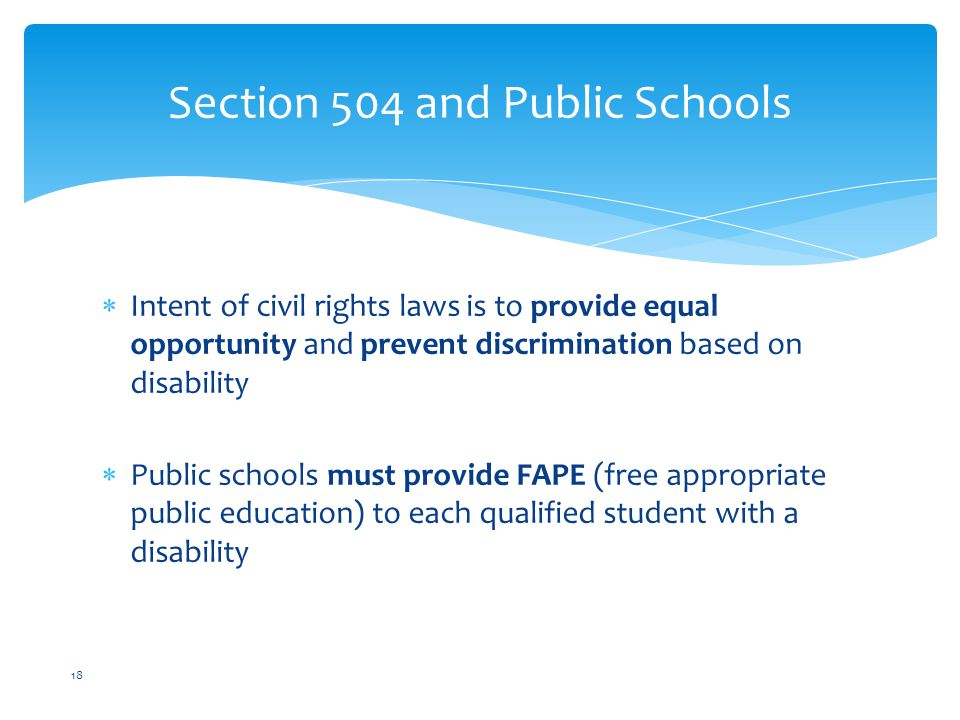 Section 504 and Public Schools