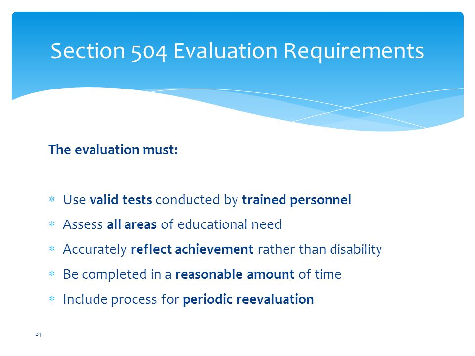 Section 504 Evaluation Requirements