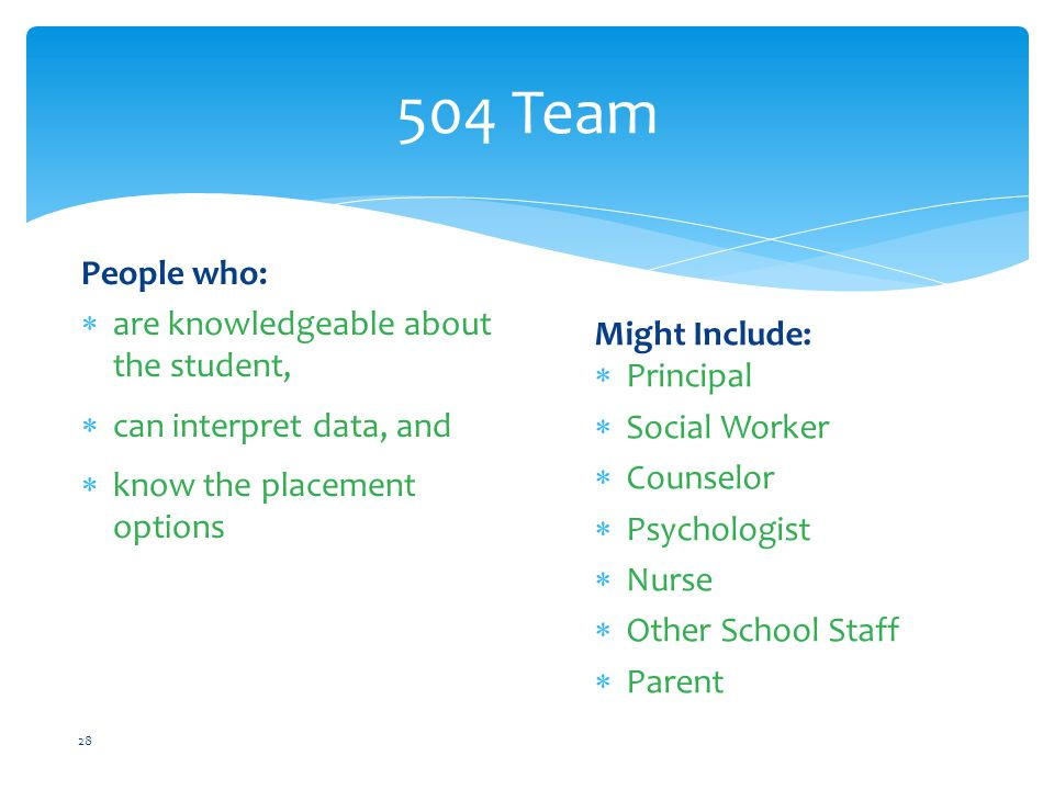 504 Team People who: are knowledgeable about the student,