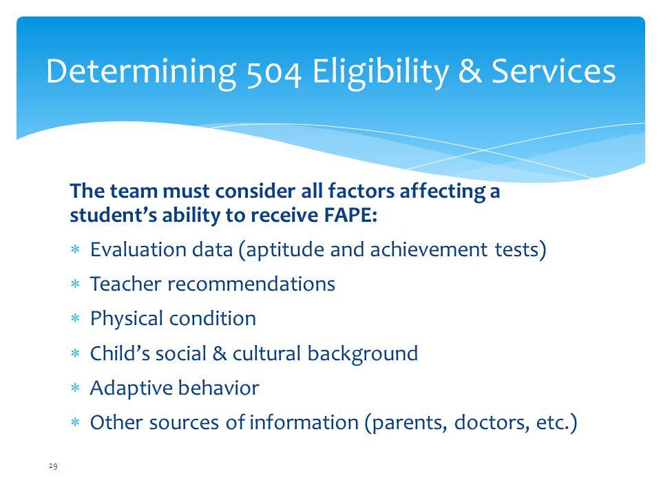 Determining 504 Eligibility & Services